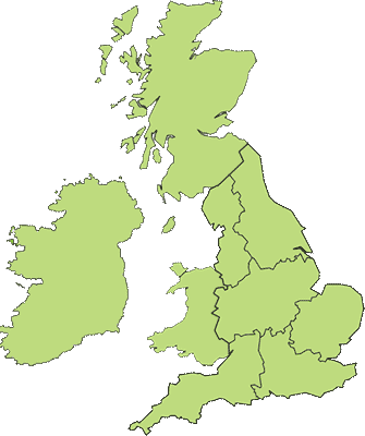 UK Regions map for Localgreens.com